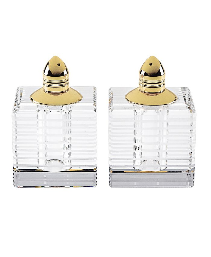 "Badash Crystal - 2 Gold Shakers H2.75"""