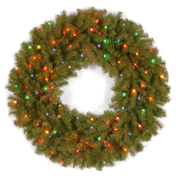"National Tree Company 36"" Norwood Fir Wreath with 100 Multi Lights"