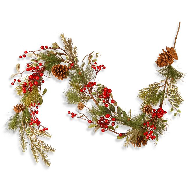 "National Tree Company 60"" Cones & Red Berry Garland"