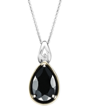 14k Gold and Sterling Silver Necklace, Onyx (2-3/8 ct. t.w.) and Diamond Accent Teardrop Pendant