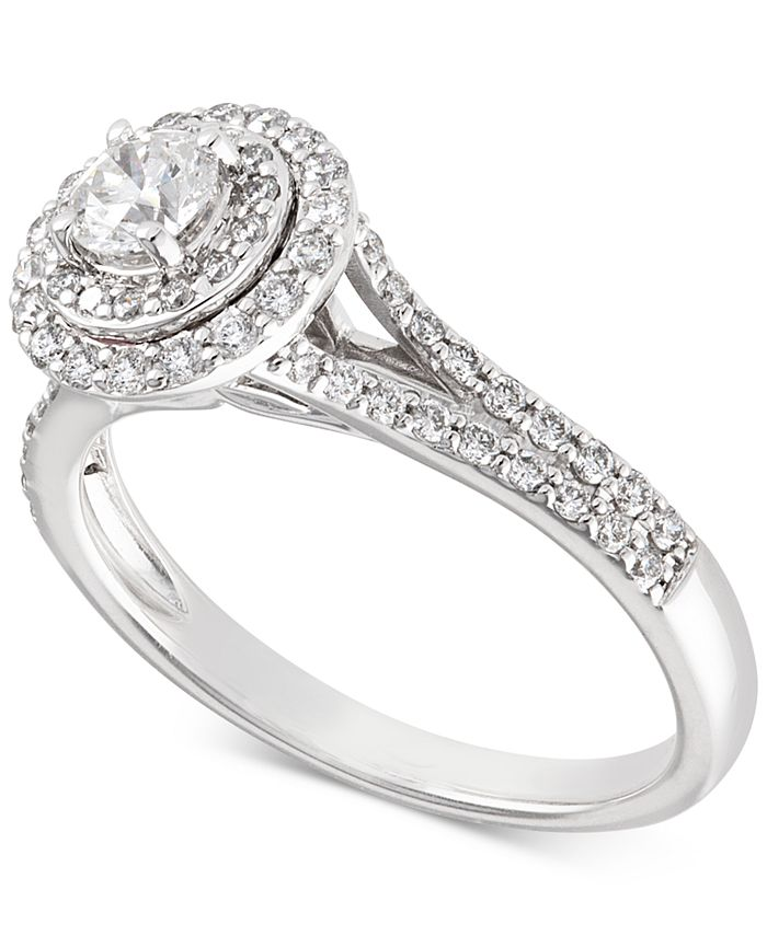 X3 - Certified Diamond Halo Engagement Ring (3/4 ct. t.w.) in 14k White Gold