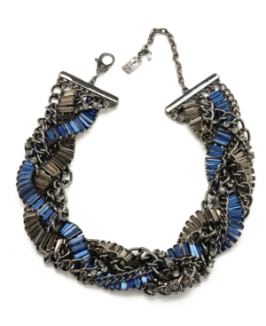 Kenneth Cole New York Necklace, Black and Blue Crystal Braided Chain Necklace