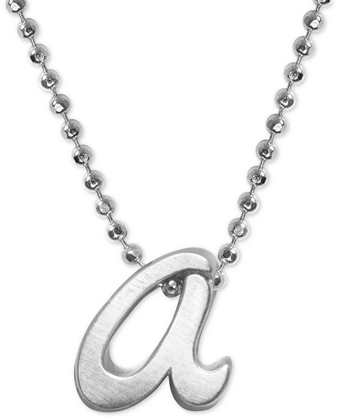 "Alex Woo - Lowercase Initial 16"" Pendant Necklace in Sterling Silver"