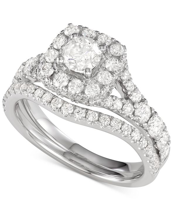 Macy's Diamond Halo Bridal Set (2 ct. t.w.) in 14K White, Yellow or Rose Gold