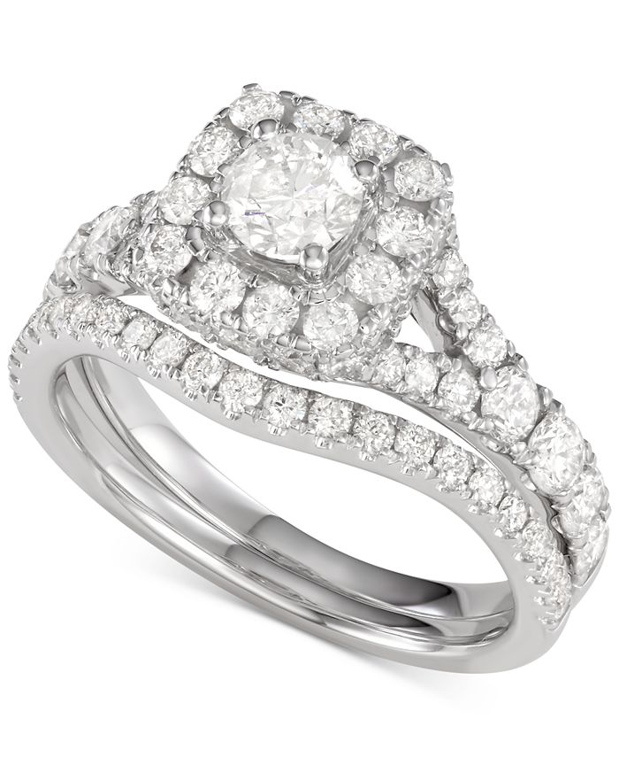 Macy's - Diamond Halo Bridal Set (2 ct. t.w.) in 14K Gold