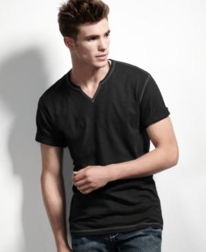 INC International Concepts T Shirt, Split Neck Tee