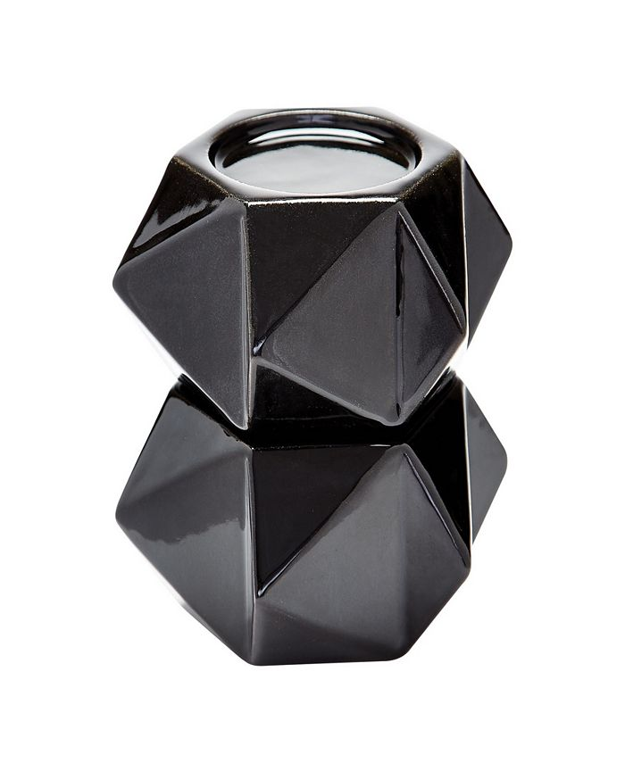 Dimond Home - Large Ceramic Star Candle Holders - Black. Set of 2