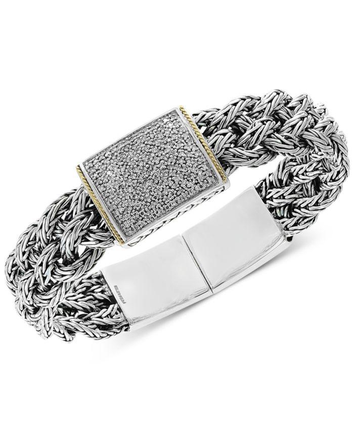 EFFY Collection Diamond Pavé Woven Bracelet (1/2 ct. t.w.) in Sterling Silver & 18k Gold & Reviews - Bracelets - Jewelry & Watches - Macy's