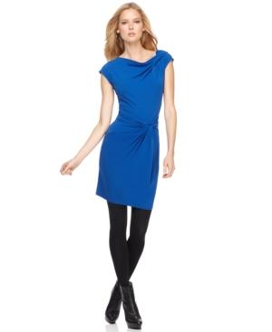 MICHAEL Michael Kors Petite Dress, Cap Sleeve Draped Neck Twist Sheath