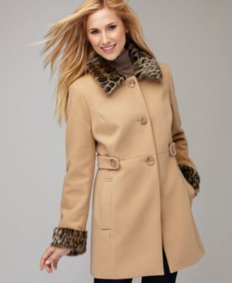 Stye&co. Coat, Long Sleeve Faux Fur Coat