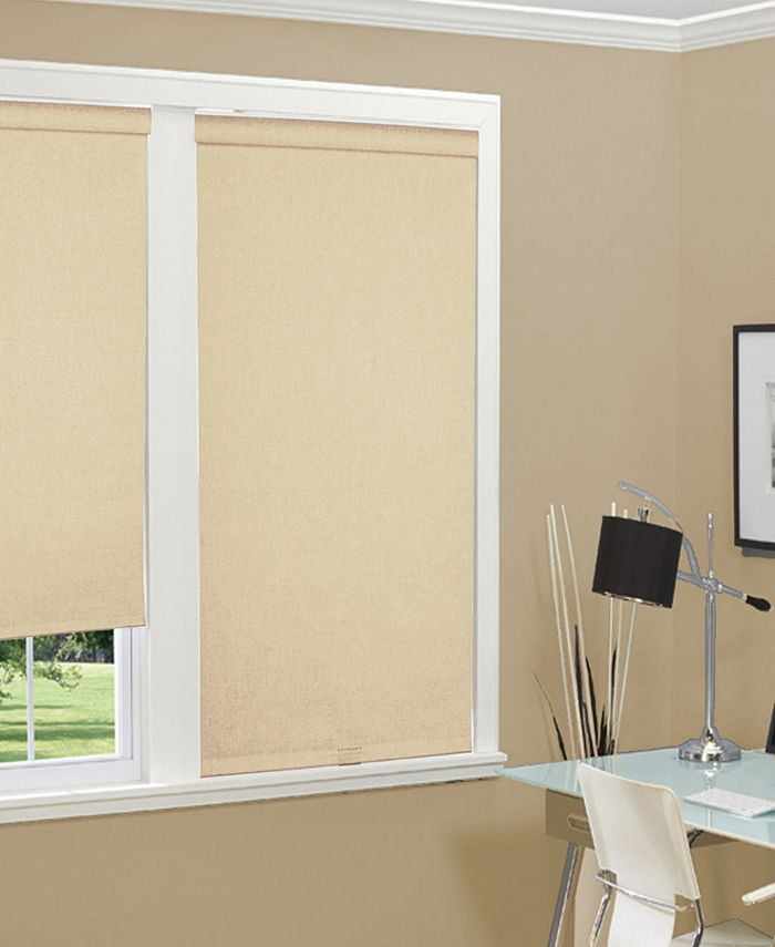 """US Shade & Shutter - Cordless Linen Look Thermal Fabric Roller Shade, 34""""x66"""""""
