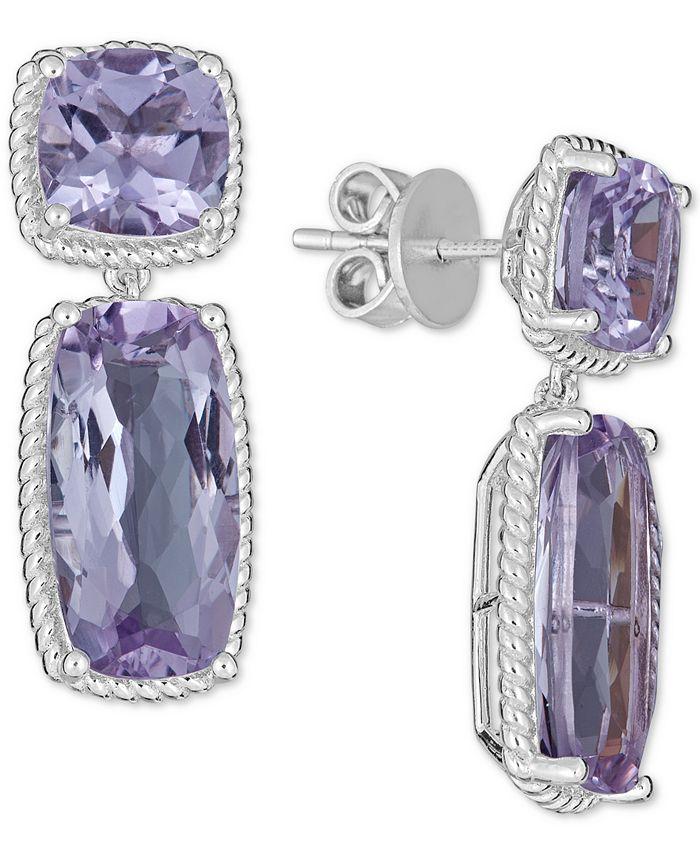 Macy's - Amethyst Rope Frame Drop Earrings (12 ct. t.w.) in Sterling Silver