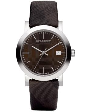 Burberry Watch, Swiss Smoked Check Brown Fabric Strap 38mm BU1775