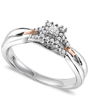 Diamond Ring, 14k Rose Gold and Sterling Silver Square Diamond Engagement Ring (1/8 ct. t.w.)