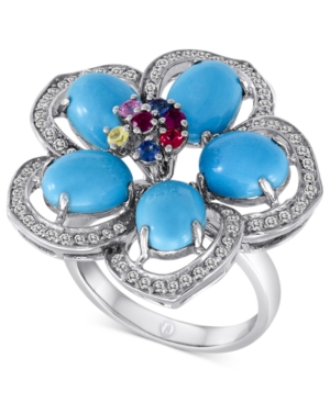 Carlo Viani 14k White Gold Ring, Turquoise (4-9/10 mm) and Multistone Flower Ring