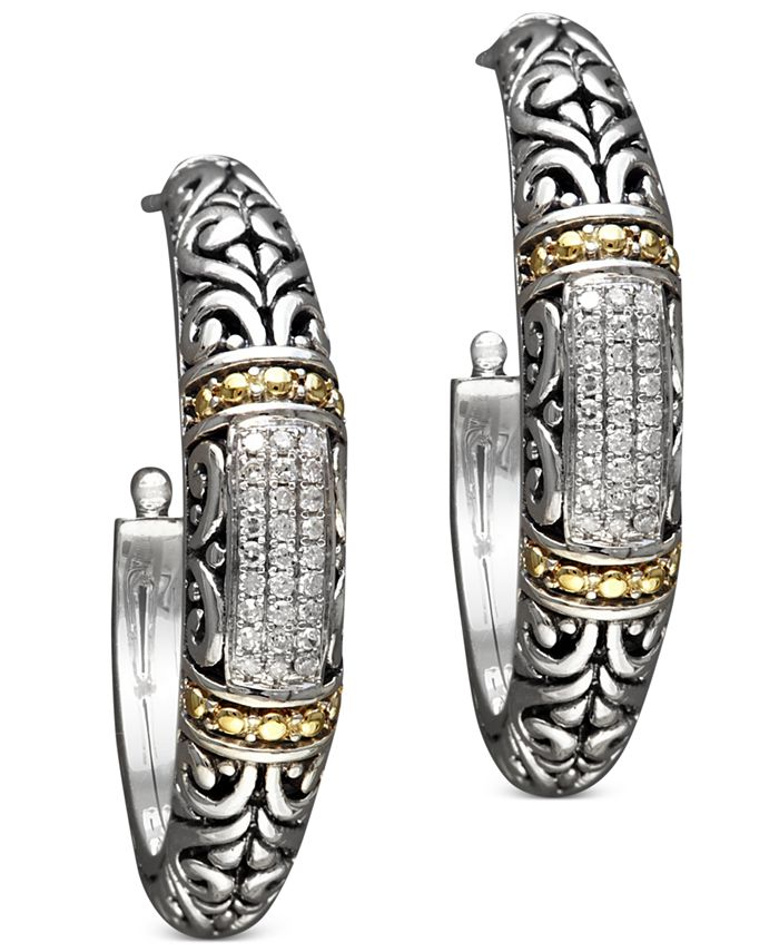 EFFY Collection - Diamond Hoop Earrings (1/4 ct. t.w.) in 18k Gold and Sterling Silver