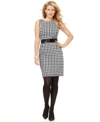 Elementz Dress, Sleeveless Printed Belted Pencil Sheath