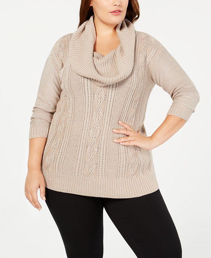 Belldini - Plus Size Lurex® Cowl-Neck Sweater