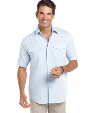 Cubavera Shirt, Short Sleeve Double Pocket Woven Shirt