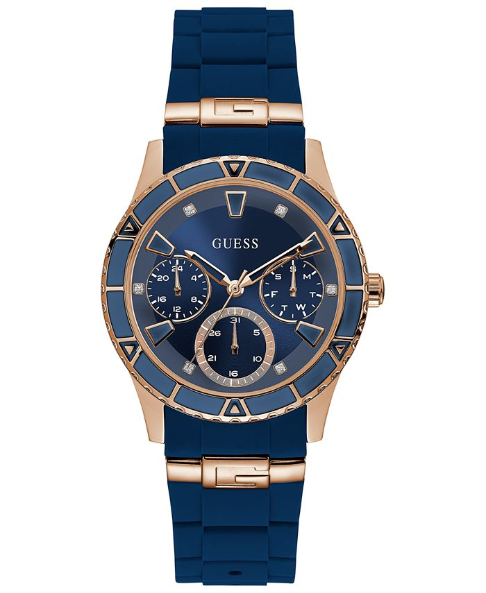 GUESS - Women's Blue Silicone Strap Watch 38mm