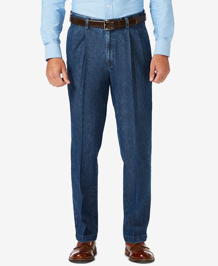 Haggar - Men's Stretch Denim Classic-Fit Pleated Pants
