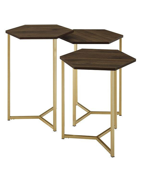Walker Edison Set of 3 Hex Nesting Tables in Graphite and Gold