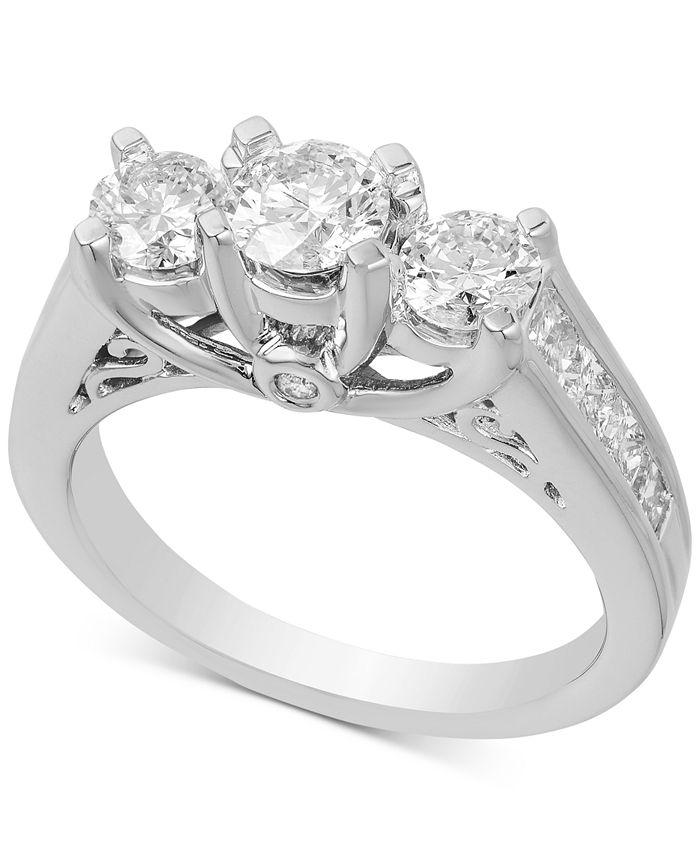 Macy's - Diamond Three Stone Engagement Ring (2 ct. t.w.) in 14k White Gold