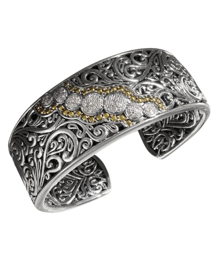 EFFY Collection Balissima by EFFY® Diamond Round Swirl Diamond Cuff (1/4 ct. t.w.) in 18k Gold and Sterling Silver & Reviews - Bracelets - Jewelry & Watches - Macy's