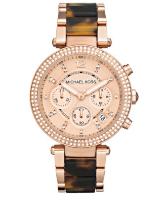 Michael Kors Watch Womens Chronograph Parker Tortoise Acetate and Rose Gold-Tone Stainless Steel Bracelet 39mm MK5538