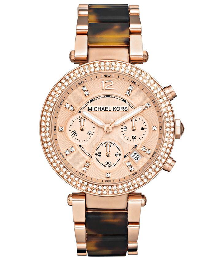 Michael Kors - Women's Chronograph Parker Tortoise Acetate and Rose Gold-Tone Stainless Steel Bracelet Watch 39mm MK5538