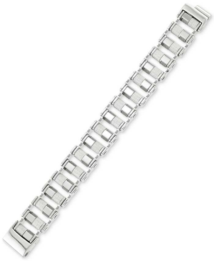LEGACY for MEN by Simone I. Smith Barrel Link Bracelet in Stainless Steel & Reviews - Bracelets - Jewelry & Watches - Macy's