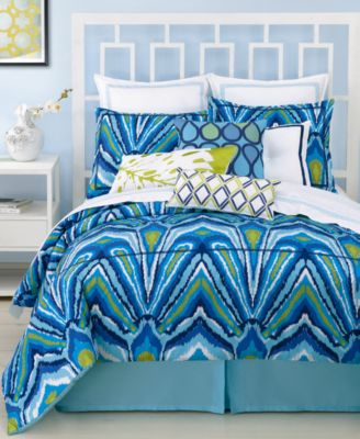 Trina Turk Blue Peacock Queen Comforter Set