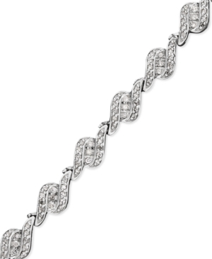 Wrapped in Love(tm) Diamond Bracelet, 14k White Gold Diamond Three Stone Twist Bracelet (1 ct. t.w.)
