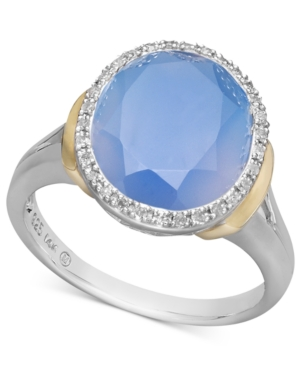 14k Gold and Sterling Silver Ring, Blue Agate (3-5/8 ct. t.w.) and Diamond (1/10 ct. t.w.) Statement Ring