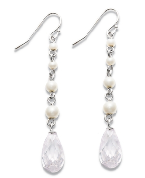 Carolee Earrings, Imitation Pearl and Glass Accent Linear Drop Earrings