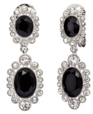 Monet Earrings, Jet Resin and Crystal Double Drop Clip On Earrings