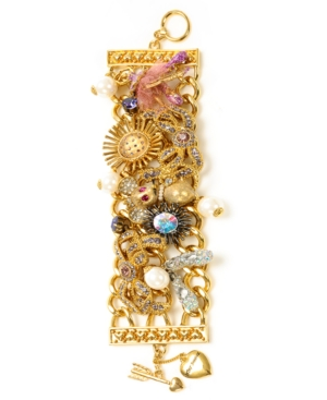 Betsey Johnson Bracelet, Ballerina Multi Charm Wide Toggle Bracelet
