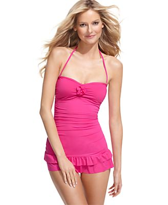 Kenneth Cole Reaction Swimsuit, Bandeau Ruffle Tummy Control Swimdress