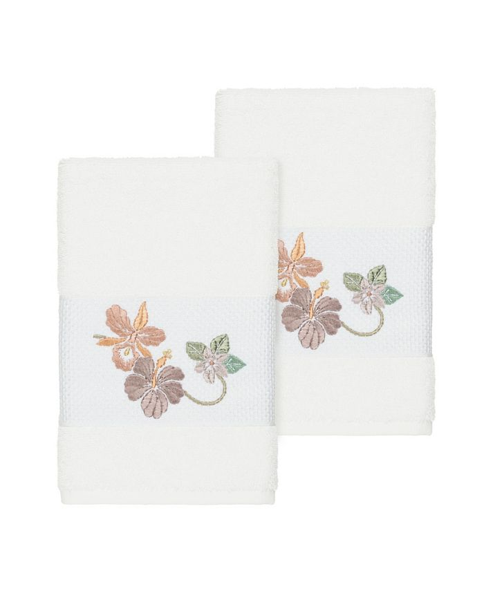 Linum Home - Caroline 2-Pc. Embroidered Turkish Cotton Hand Towel Set