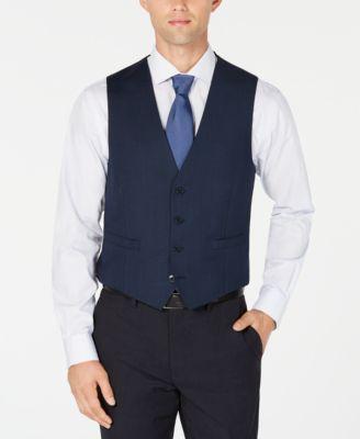 Men's X-Fit Slim-Fit Stretch Blue Birdseye Suit Vest
