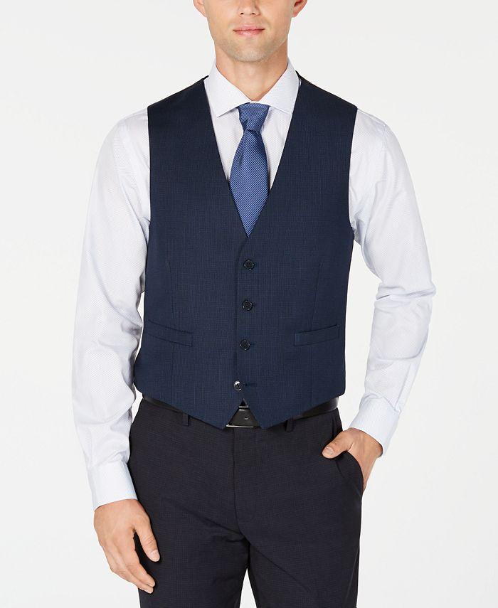 Calvin Klein - Men's Slim-Fit Stretch Blue/Charcoal Birdseye Suit Vest