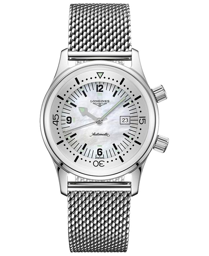 Longines - Women's Swiss Automatic Legend Diver Stainless Steel Mesh Bracelet Watch 36mm