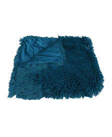 """Chubby Faux Fur Reversed To Micromink Decorative Throw, 50"""" X 60"""""""