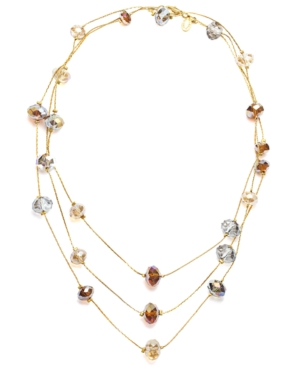 c.A.K.e. by Ali Khan Necklace, Champagne Glass Beaded Long Rope Necklace