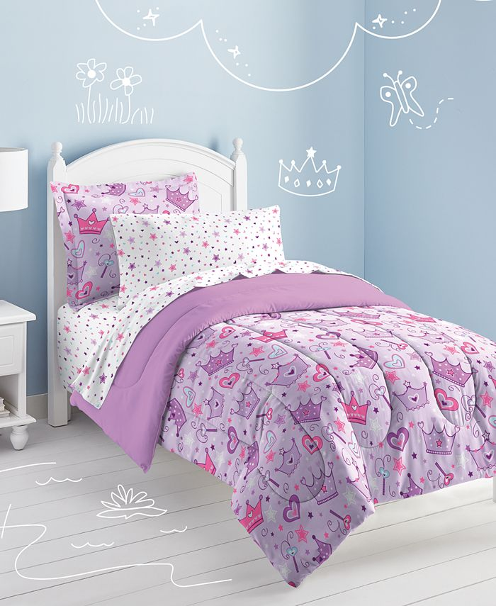 Dream Factory - Stars & Crowns Fl Comforter Set