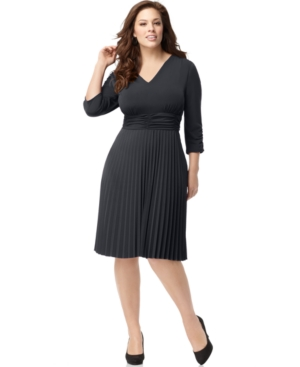 NY Collection Plus Size Dress, Three Quarter Sleeve Ruched Pleated Cocktail Dress