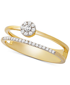 Wrapped™ Diamond Cluster Double Ring (1/6 ct. t.w.) in 14k Gold, Created for Macy's