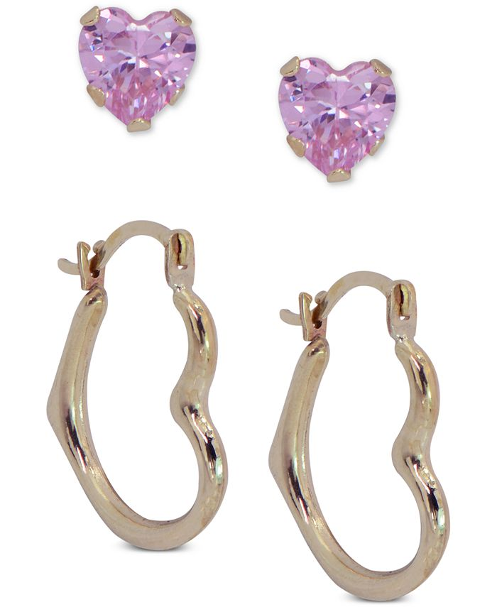 Macy's - 2-Pc. Set Cubic Zirconia Heart Stud & Polished Heart Hoop Earrings in 10k Gold