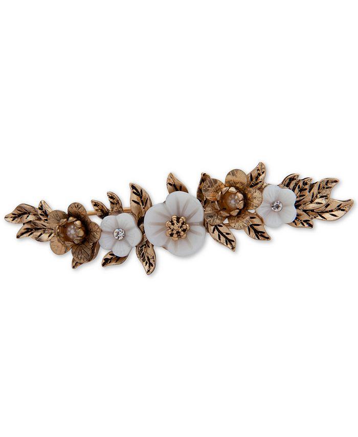 lonna & lilly - Gold-Tone Crystal & Imitation Pearl Flower Hair Clip