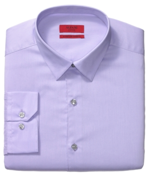 Alfani Dress Shirt, Fitted Pale Plum Long Sleeve Shirt